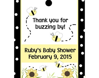 24 Personalized Baby Shower Favor Tags  - Baby Bee