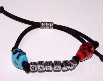 adjustable BADASS skull bracelet