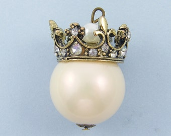 Large Antique Gold Crown Pendant with Rhinestone and Pearl |LG3-5|1