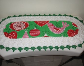 Aunt Roo's MINI Vintage  Style Ornaments for All runner w/ crocheted edging for toilet tank or small shelf