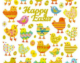 Happy Easter Chicks Stickers • Easter Egg Sticker • Easter Sticker • Easter Favors • Easter Treats • Easter Eggs (SK4506)