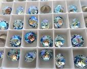 6 Light Azore Glacier Blue Swarovski Crystal Chaton  Stone 1088 39ss 8mm
