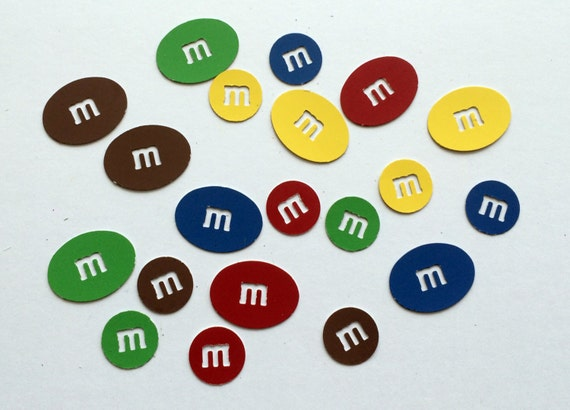 M&M Plain and Peanut Candy Die Cut Shapes 5 Bright Primary Colors: Brown Yellow Blue Red Green