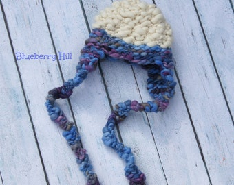 NEWBORN Photography Prop - Baby Knit Aviator Hat - Earflap - Twin Prop - Handdyed and Handspun yarn