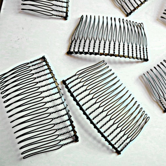 6 12 or 24 pieces steel wire hair comb 18 teeth 2 3 4 for Metal hair combs for crafts
