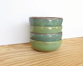 Sea Mist and Green Stoneware Ceramic Pottery Bowls Set of 4