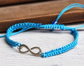 Light blue Infinity Bracelets, Hemp Jewelry. Infinity Initial Bracelet. Macrame infinty bracelet