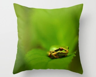 Green Tree Frog Pillow Cover Leaf Woodland Scene Tree Frog Print Forest Find Natural History Amphibian