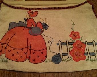 Very Sweet Vintage Embroideried Knitting Bag