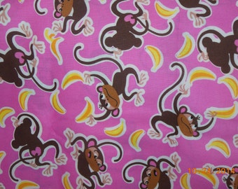 SALE     ------    Pink Monkeys and  Bananas  Pillowcase
