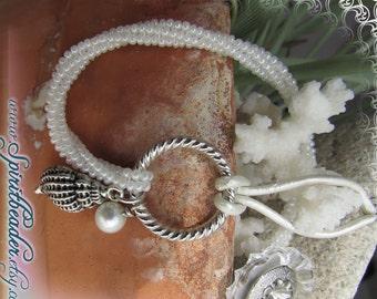 White Coral Beadwork Herringbone Pearl Shell Silver Charm Bracelet
