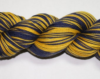 Navy and Maize Self Striping Hand Dyed Sock Yarn