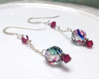 Magenta, Green and Blue Swarovski Crystal Dangle Earrings