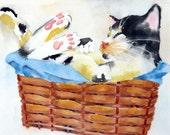 Original Kitty Watercolor Painting / cat artwork / Gift for her original watercolor / Kitten wall art / Framed Calico / cat lover  8x10 ORIG