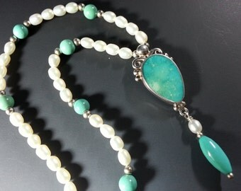 Lovely Turquoise Necklace with Sterling Silver Setting and Pearls