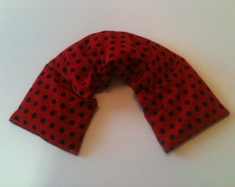 Heat pad ,Microwave Heat Pack /Rice Heating Pad, Neck Warmer, Flax Seed,Scented or Unscented -Red Black Dot