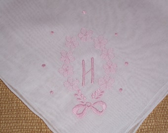 Vintage Hanky with a Pink Initial H Hankie Handkerchief with Hand Embroidery