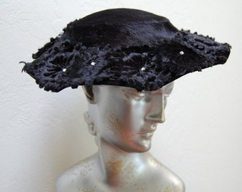 Vintage 50s Black Velvet Hat Black Flowers and Rhinestones