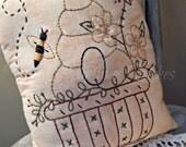 Decorative Bee Keeper Pillow, Hand Stitched Pillow, Bee Hive, Bees, Spring