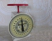 Vintage Way Rite household Scale, Industrial Chic, white metal scale, with red top, chippy table scale, shabby chic, primitive vintage scale