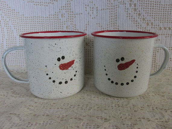 Snowman Mugs, Enamel red rim cup, Set of 2 Large Winter Mugs, Holiday Ornament, Winter Snowmen Cups to fill for teacher gifts, hostess gift