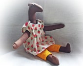 Stuffed Horse - cuddling plush toy rag doll - handmade eco gift doll - toy horse animal - for boy toddler girl mom strawberry dress orange