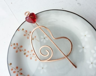 Copper Shawl Pin- Queen of Hearts -Red Glass Heart