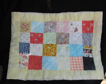 Vintage Patchwork Doll Quilt Set in Yellow