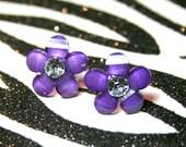 Purple Flower Earrings, Imdigo Daisy Studs, Floral Rhinestone Earrings