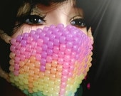 Glow Kandi Mask, Melting Rainbow Surgical Kandi Mask, Plur Rave