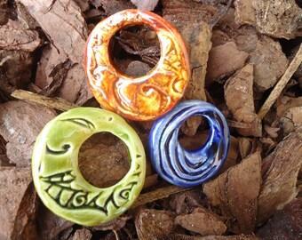 3 Stoneware Hoop Pendants