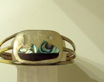 Vintage Taxco Silver Cuff Bracelet - Night Sky Bracelet - Sterling - Abalone - MOP - SALE - Wood - Moon - Star - Mountan - Spratling Era