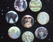 "Gypsy Fortune Tellers 1.25"" Magnets or Pinback Buttons - Set of 8"
