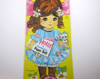Vintage 1970s Holly A Costume Paper Doll Book for Children Uncut by Artcraft Saalfield