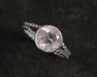 Rose Quartz and Sterling Silver Gemstone Ring, Split Shank Rope Band Gemstone Ring, Ready To Ship Size 8.25