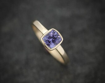 14k Yellow Gold and Purple Sapphire Cushion, Gold and Sapphire Solitaire, Cushion Cut Gemstone // Ready to Ship Size 7.5