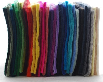 "100% Wool Felt Fabric - Approx 3mm - 5mm Thick - 35 assorted 15cm / 6"" Square Sheets"