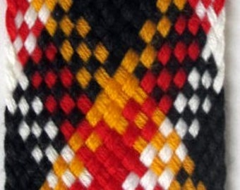 Plaid Braid 3 yards TARTAN BRAID tape passementerie trim black yellow red white. 1 1/4 inch wide. BC840-A Diagonal weave