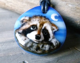 Raccoon in the night  necklace -  fused glass pendant