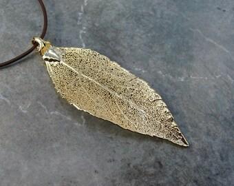 Real Leaf Pendant - 24k Gold - Evergreen