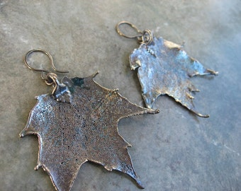 Real Leaf Earrings - Oxidized Sterling Silver - Sugar Maple