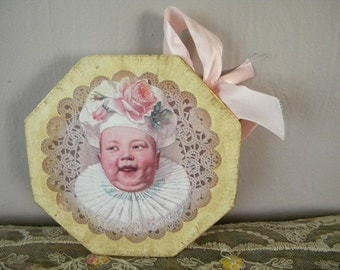 Vintage Box with Strange Decoupage Italian Baby Chef
