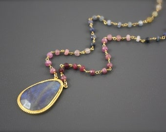 Labradorite Connector Natural Sapphire Necklace by Yania Creations Jewelry Only One Available