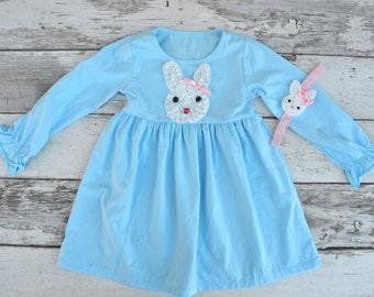 Girls Easter Dress, Easter Bunny Dress, Toddler Easter Dress, Blue Easter Dress, Easter headband, Bunny headband