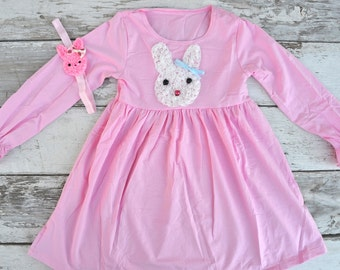 Girls Easter Dress, Easter Bunny Dress, Toddler Easter Dress, Pink Easter Dress, Easter headband, Bunny headband