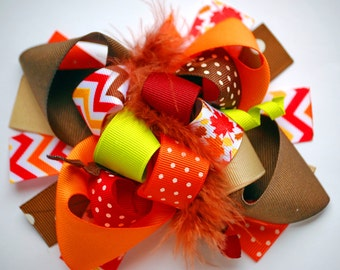 boutique FUNKY fun COLORS of FALL hair bow clip