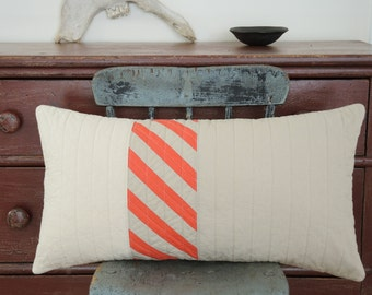 Modern Lumbar Pillow - Striped Coral Triptych Lumbar