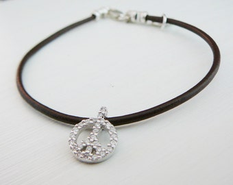 Brown Leather Bracelet, cubic zirconia Peace symbol charm, Sterling Silver Jewelry friendship bracelet