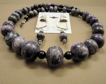 Sugalite and Black Agate necklace set, 21 inch single strand necklace, Pierced square open back hoop earrings, Hook Type Clasp