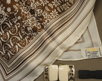 Vintage Echo 27 inch Square Scarf, Unique mix of Brown and Cream in classic quilt design with floral theme, Bonus magnetic back brooch